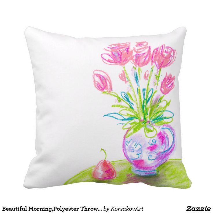 """Beautiful Morning,Polyester Throw Pillow 16"""" x 16"""" #pillow #pillows #home #decor #interior #cushion #flowers #roses #spring"""