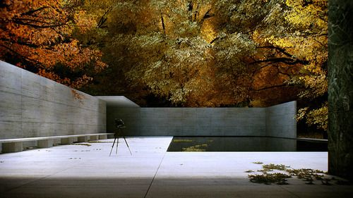 Mies van der Rohe's Barcelona Pavillion (1929) during Fall