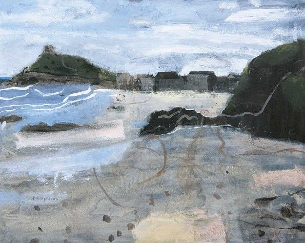Very Early Morning on Porthmeor Beach, St Ives by Elaine Pamphilon | Mixed media on canvas | 80 x 100 cm #elainepamphilon #tannerandlawson #cornwall