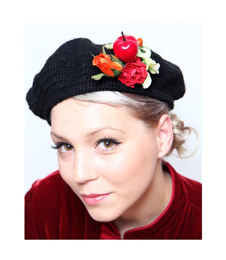 """BERET """"FUNKY APPLE ON MY HEAD""""  - available here: www.thebohemianflow.blogspot.com"""
