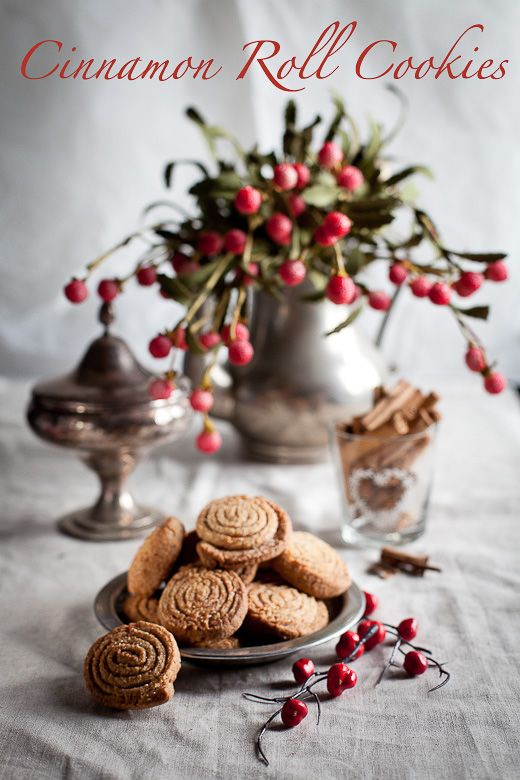 Absolutely love the subdued tones and lighting in this shot. The red adds a warm splash of color.: Christmas Cookies, Sweet, Cinnamon Rolls, Biscuits Cookies, Cinnamon Roll Cookies, Shape, Food Cookies, Roll Cookies 3, Dessert