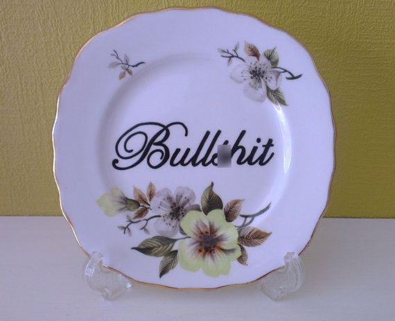 Bulls/hit Vintage Tea Plate rude floral Hand Painted Insulting/Joke funny swear gift mature & The 33 best Vintage Hand Painted China images on Pinterest | Gift ...