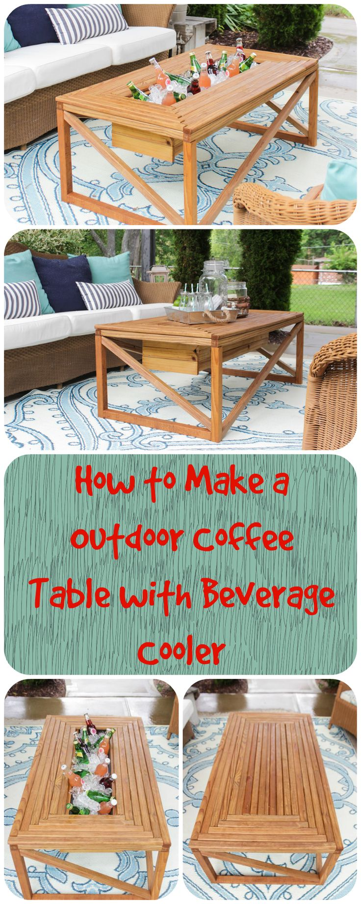 Make An Outdoor Coffee Table With Beverage Cooler. (Kids Wood Crafts How To  Make)