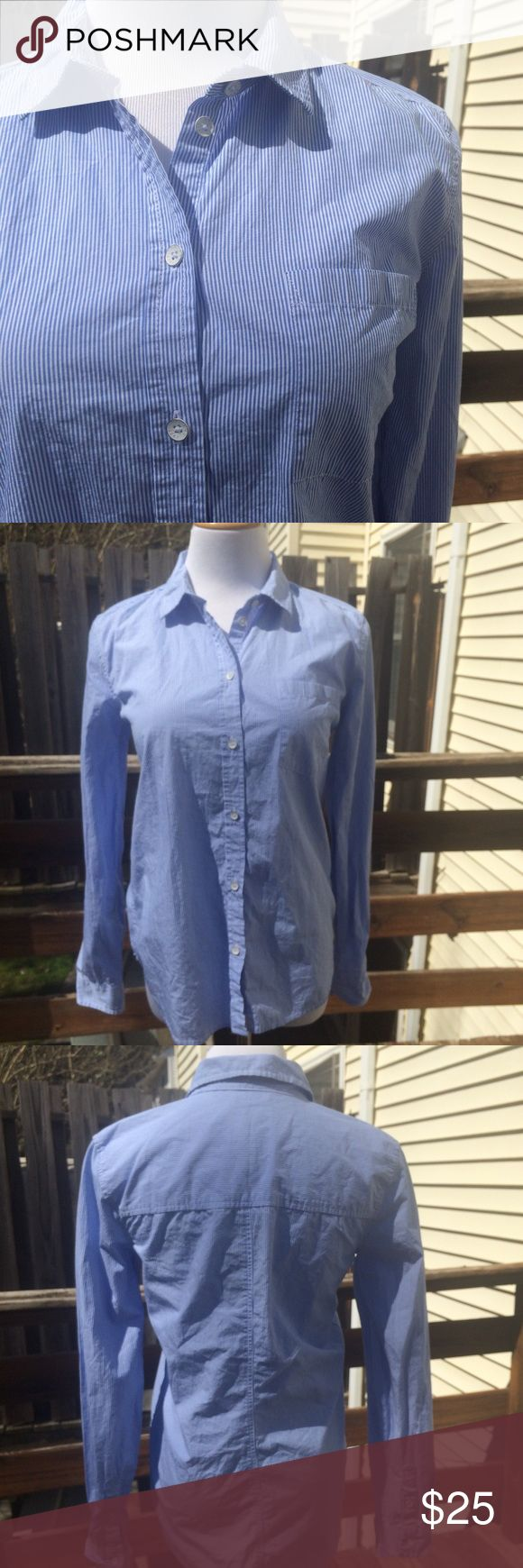 NWT America Eagle Button Down New with tags. Blue and white pinstripe button down top. Size XS, but it will also fit a small. My dressform is a medium, and it fights tightly on the form, so extra small and small are likely good fits. American Eagle Outfitters Tops Button Down Shirts