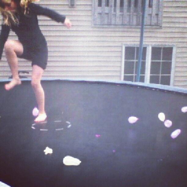 Trampoline+ Water Balloons=Fun Times