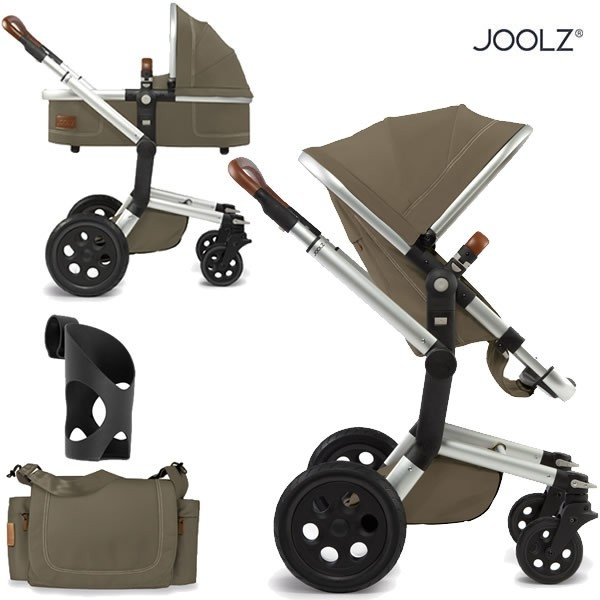 Joolz Day Earth Edition Pushchair with carrycot, nursery bag and cup holder - turtle green