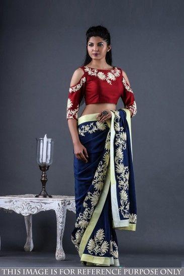 Élégante Saree Georgette Bleue avec Blouse en soie Banglori - DMV15569 pour les femmes en ligne  #Designersaree #georgette #bleu #banglorisoie #blouse #vêtementsdefêtesaree #vêtementspourfemmes #lamodesfemmes #achatsenligne