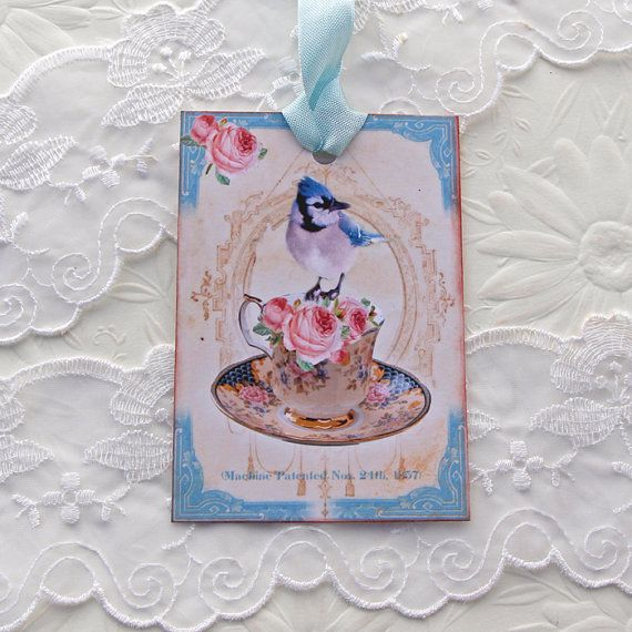 Bird Teacup Tag French Gift Hang Tea Party by EnchantedQuilling