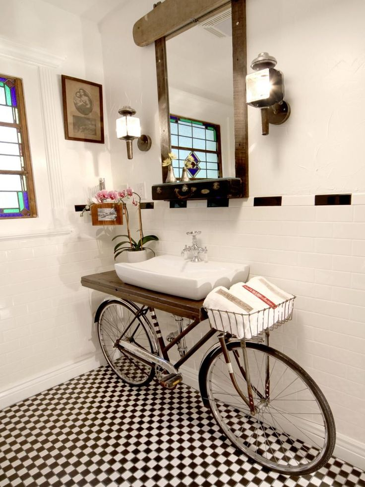 DIY Network shows you several creative and repurposed ideas for alternative bathroom vanities.