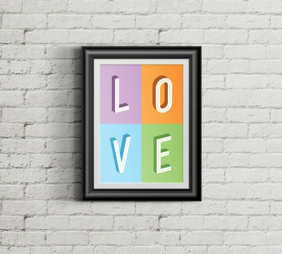 Love Wall art print_Typography print by TypographyDesign on Etsy