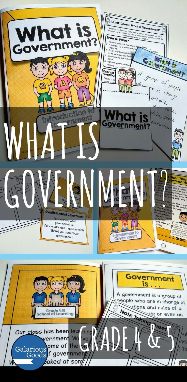 Prepare your students to learn about government with this introductory book and activities. This is the perfect social studies resource to bring the concept of government to your students and ensure that they are ready to approach more in-depth subjects. Also great for reinforcing government concepts in 4th and 5th Grade  #civicsandcitizenship #government #teachingresources #teacherspayteachers #4thgrade #5thgrade #socialstudies