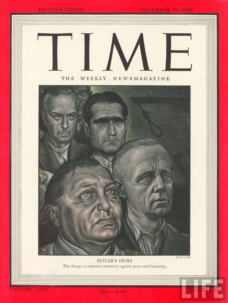 Life Magazine -- Nuremburg Trial  participants including Nazi top brass Hermann Goering (bottom L) & Rudolf Hess (top R).