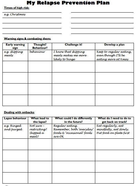 webiteback:  Relapse Prevention Plan - Worksheet: