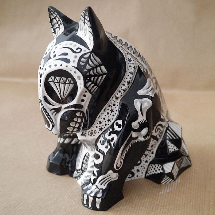Sculpture Tattooed Mexican Bull Terrier, Dia De Los Muertos sculpture Dog skeleton