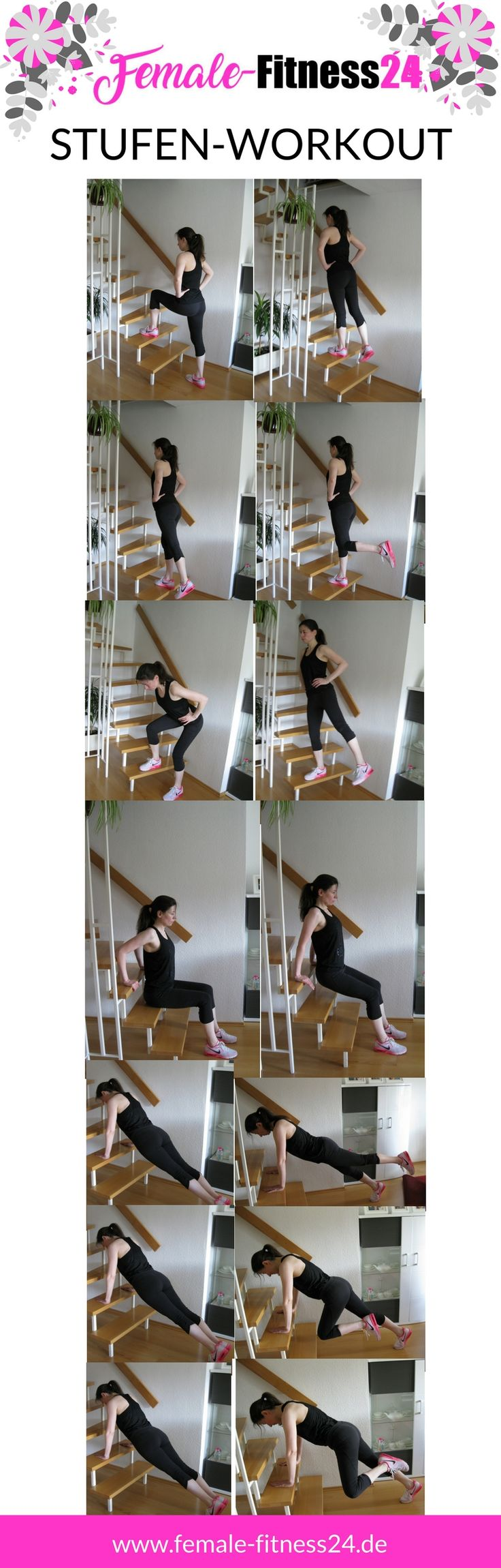 Stufen-Workout für Frauen für zu Hause oder im Freien. Trainiere Bauch, Beine, Po, Arme und Schultern.  #workout #training #workoutroutine #athome #fitness #sport #bodyweightworkouts #femalefitness24