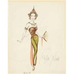 Edith Head costume sketch for Dorothy Lamour from Road to Bali