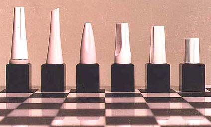Wonderful ideas for designing your own chess set (shown: nail polish)