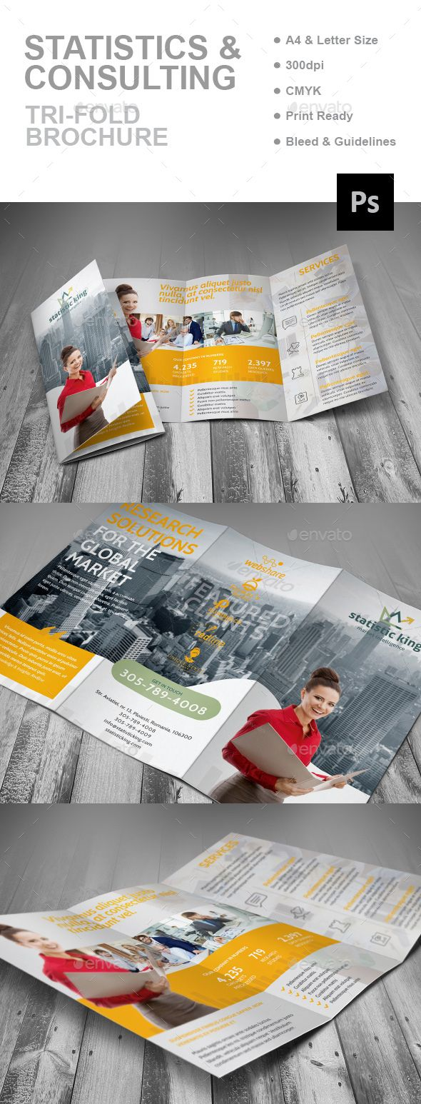 Statistics And Consulting Trifold Brochure Template PSD. Download here: http://graphicriver.net/item/statistics-and-consulting-trifold-brochure/16151704?ref=ksioks