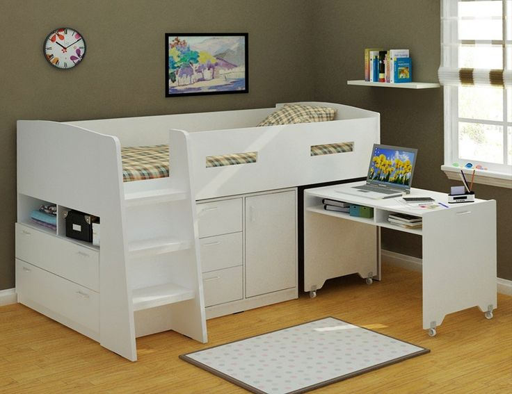 Jupiter Loft Bed  With Desk and Tallboys White King Single