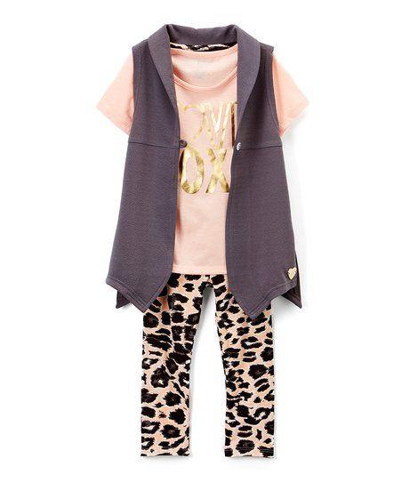 XOXO Cream & Black Cheetah Leggings Set - Toddler & Girls | zulily
