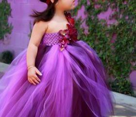 Flower girl dress Eggplant and Purple , baby tutu dress, toddler tutu dress, wedding, birthday, Newborn, 2t,3t,4t,5t