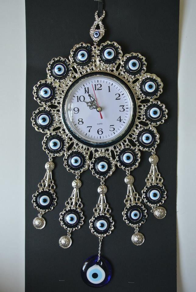 Turkish Nazar Glass Evil Eye Wall Clock Hanging Charm with Blue Stones  42 cm