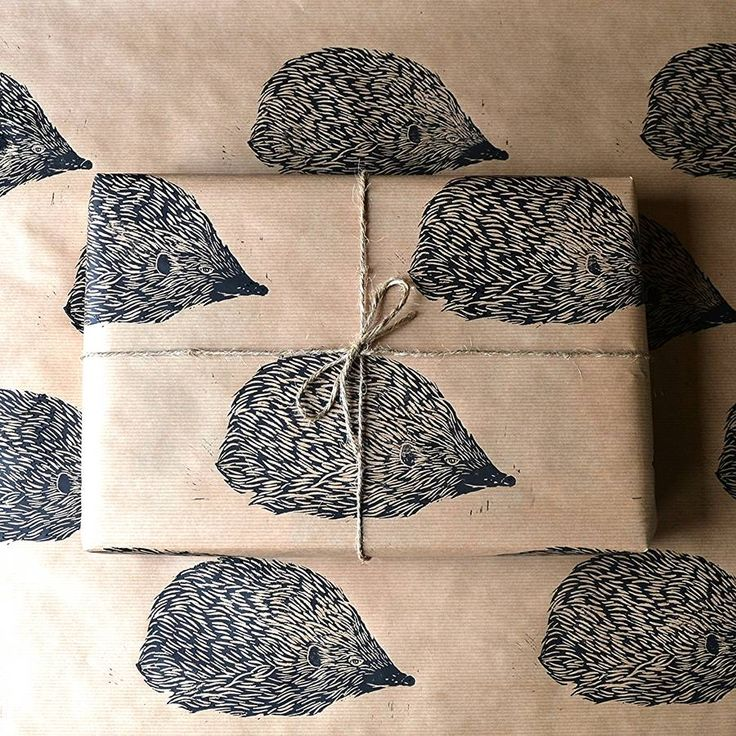 Lino Printed Hedgehog Wrapping Paper
