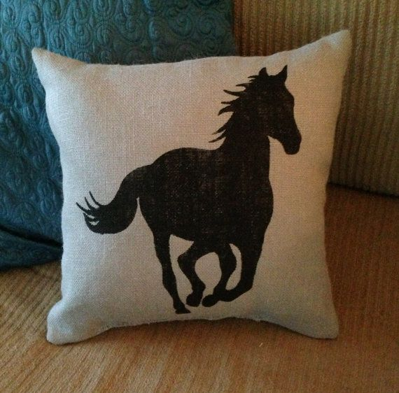 Burlap Pillow - Horse Burlap Pillow - Horse Silhouette, equestrian - Horse gifts- Custom Made to Order on Etsy, $28.00