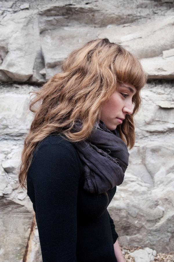 Charcoal Layered Scarf. $40.00, via Etsy.