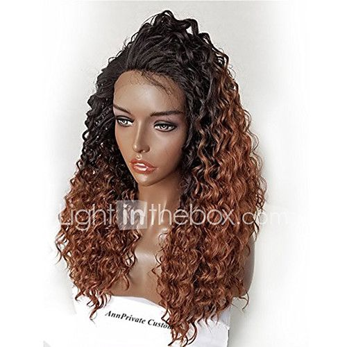 Ombre T1B/30 Brazilian Hair Glueless Lace Wigs Kinky Curly for Woman 180% Density Lace Front Human Hair Wigs Virgin Remy Hair Wig with Baby Hair - USD $161.00 ! HOT Product! A hot product at an incredible low price is now on sale! Come check it out along with other items like this. Get great discounts, earn Rewards and much more each time you shop with us!