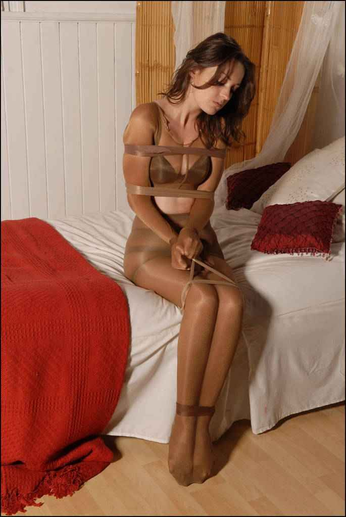 Pantyhose bondage wearing