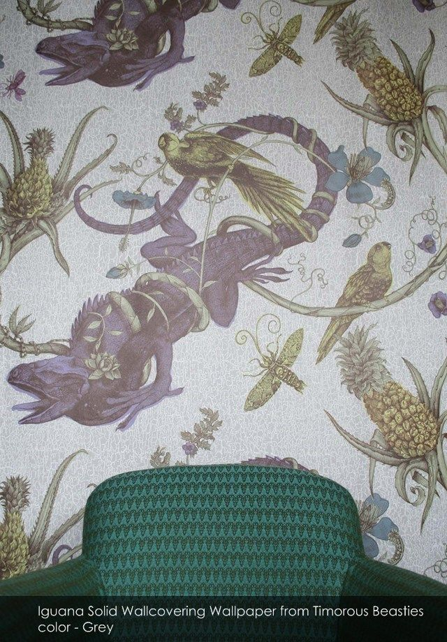 Iguana Solid Wallcovering wallpaper from Timorous Beasties in Grey