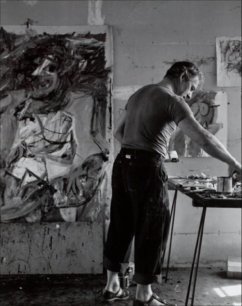 "willem de kooning, 1952. working on the ""Women"" paintings here. Dude's got anger to burn. Mother issues perhaps? just sayin."