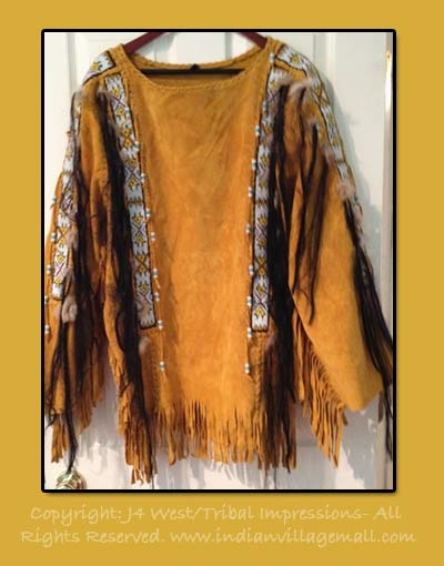 Indian Spirit Embellished War Shirt   In Dark Brown Suede - From The Tribal Impressions Collection- Review the extensive collection off of: http://www.indianvillagemall.com/smshirts.html