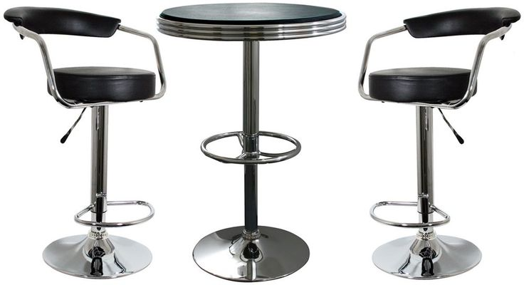 Retro Classic Soda Shop Bistro Set 3 Piece Set Bar Stools N Pub Table New #AmeriHome #Furniture #Bar #Stool #Table