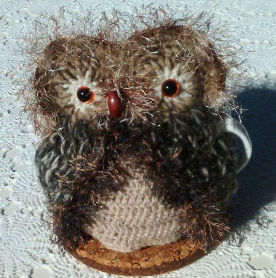 Owl Tea Cosy Hand crocheted in Brown & Fawn by CuteAussieKnits