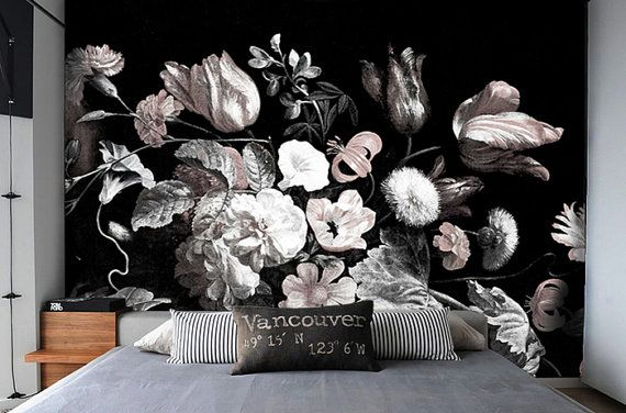 Dark Floral Removable Wallpaper Peel & Stick Self-Adhesive Wall Mural Still Life Flowers Illustration Art Black Grey Pink White Bold Style