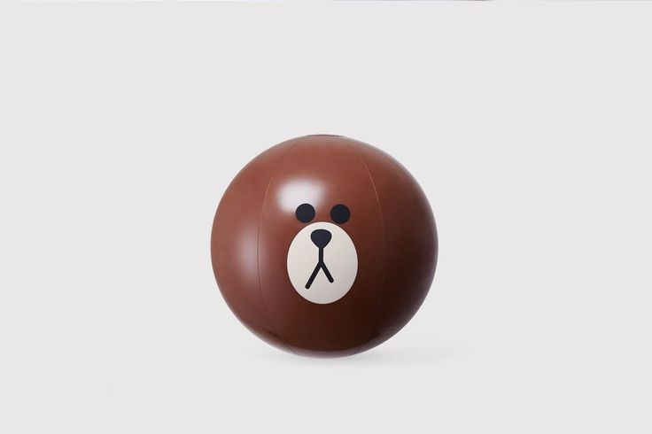 LINE FRIENDS BROWN Bear Cute Face Recreation Sports Inflatable Beach Ball #LINEPLUS