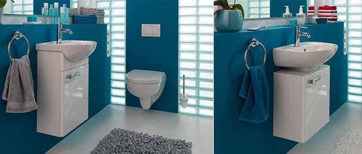 """In diesem Bild sehen Sie """"Keramag Renova Nr. 1 Handwaschbecken-Unterschrank mit 1 Tür Türanschlag rechts B:400xT:220xH:590mm weiß Hochglanz 880045000"""""""