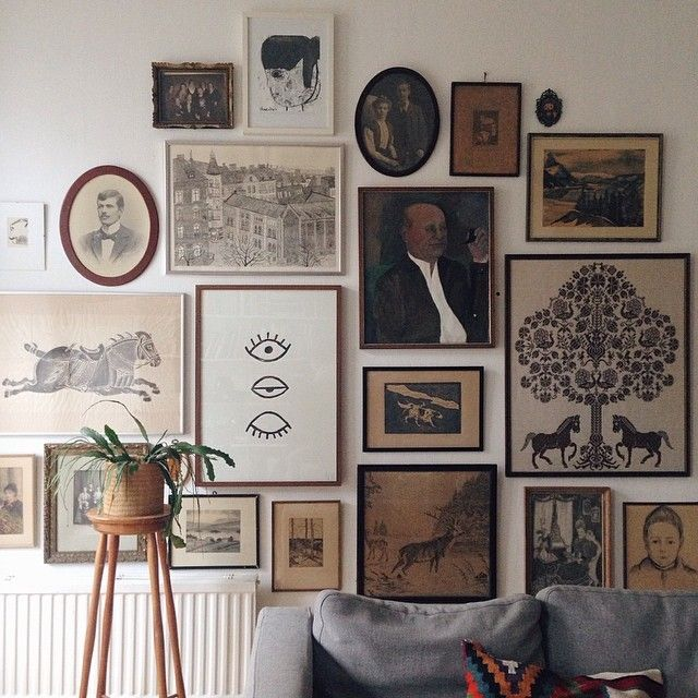 Fine Little Day, LOVE all the eclectic art on the wall