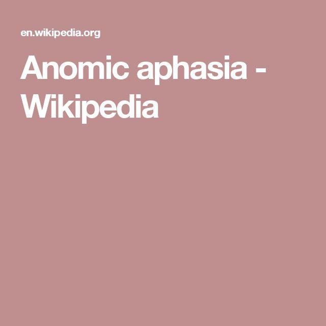 Anomic aphasia - Wikipedia