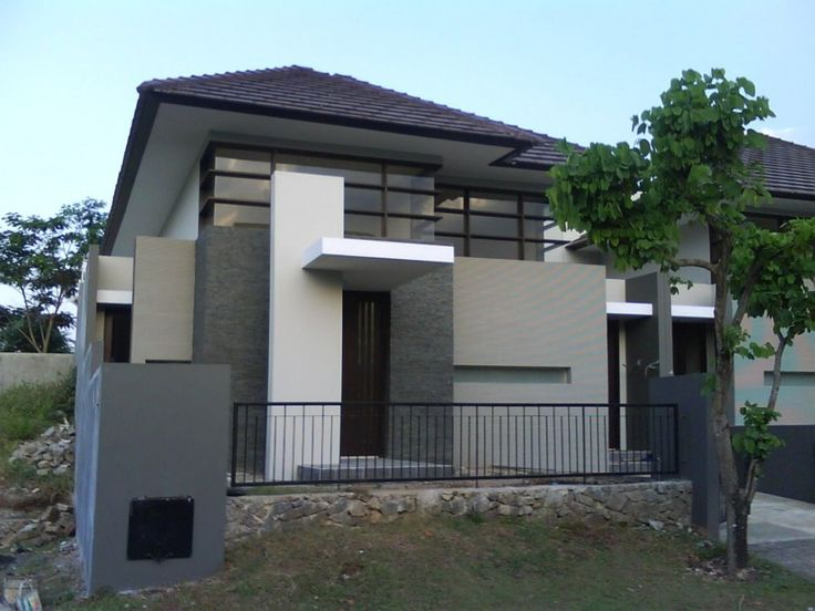 Exterior Modern Exterior Design: How to Remodel Your House from the Outside: Charming Grey Minimalist Modern Home Exterior Design Combination Stone Wall Architecture With Metal Fence And Transparent Glass Windows With Brown Wooden Architrave