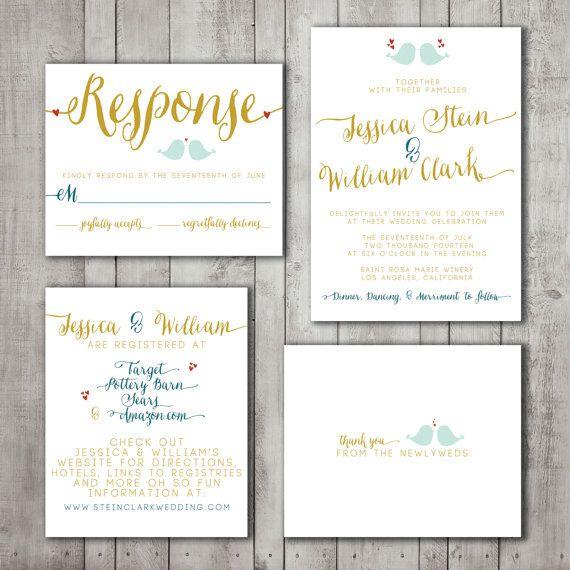 Wedding Invitation Suite Set Printable Custom By SplashOfSilver