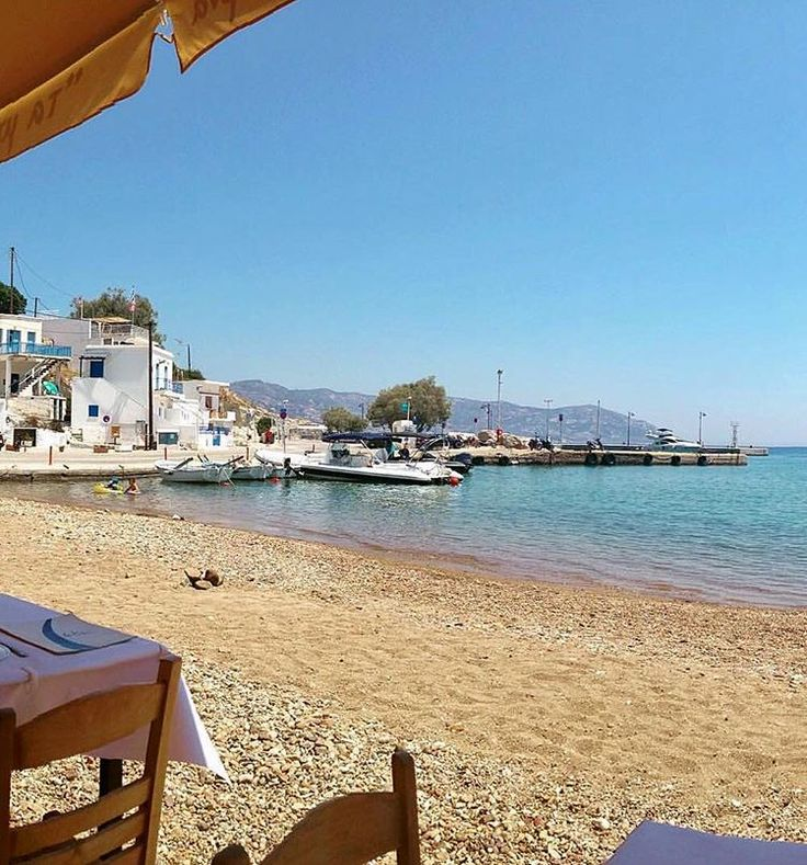 This is the port of Kimolos island (Κίμωλος). You can enjoy your lunch in a Greek tavern on the beach !