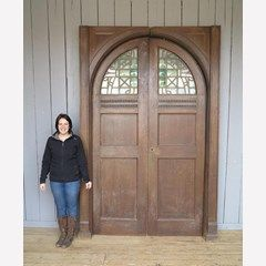 Large Pair of Victorian Oak and Stained Glass Arched Doors - 7262