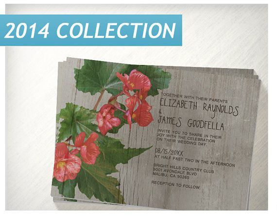 Rustic Begonia Wedding Invitations