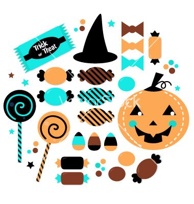 Halloween cute sweet candy set isolated on white vector 1633462 - by lordalea on VectorStock®