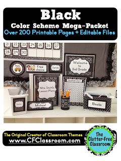 BLACK MODERN PATTERNS CLASSROOM COLOR SCHEME - A collection of over 32 different all-inclusive classroom decor & essentials bundles that come in a variety of colors & patterns (including chevron / polka dots). It includes photos/images to help & inspire you to create an organized, colorful, beautiful classroom using affordable printables. :) Jodi from The Clutter-Free Classroom www.CFClassroom.com