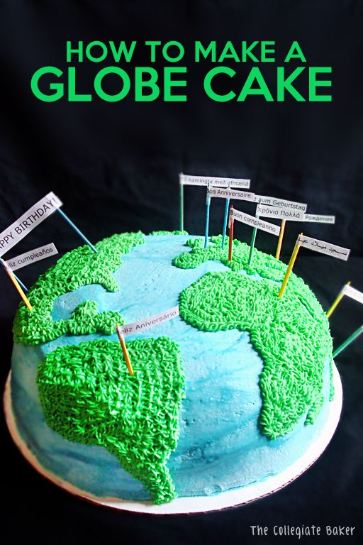 How To Make a Globe Cake - the flags say 'happy birthday' in the language of the country they're stuck in. @Stephanie White think we could make this for dad for his birthday next year? @Janie White don't give it away!