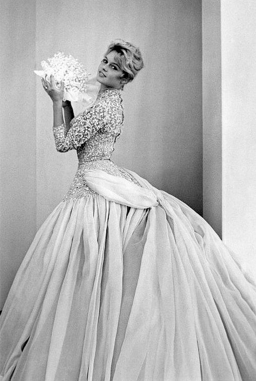1956 Brigitte Bardot in wedding gown designed by Pierre Balmain for her film '' La mariee est trop belle''